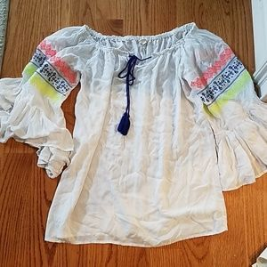 Surf Gypsy White Small Tunic Sheer Embroided Boho